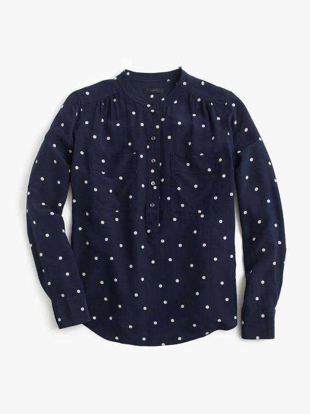 J.Crew Silk Popover Shirt in Polka Dot