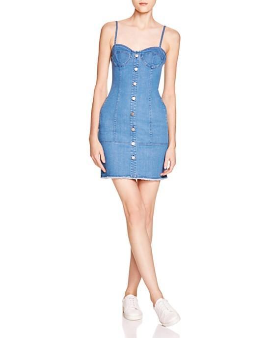 N Nicholas Denim Button Up Bustier Dress