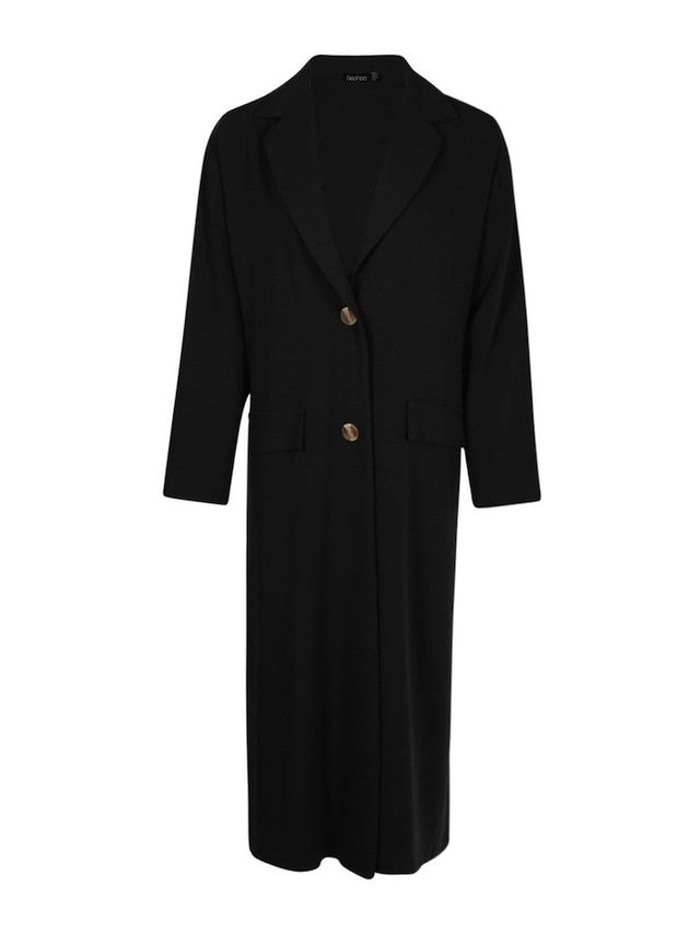 Boohoo Lily Longline Button Duster Coat