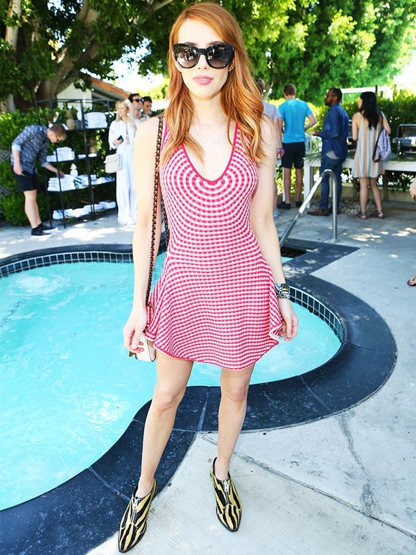 Style Notes: The eternally snappy dresser Emma Roberts also took this tack with her op-art mini-dress paired with zebra booties from Coach. It's entirely Coachella-appropriate, but...