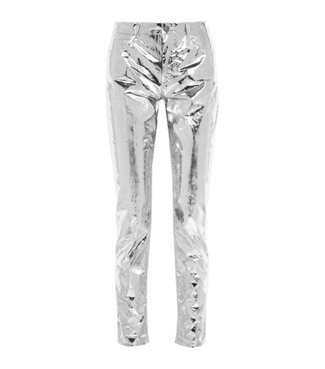 Isabel Marant Jada Silver Slim-Leg Coated Cotton Trousers
