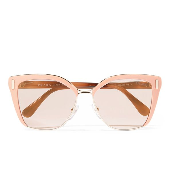 adwoa aboah style: Prada Square-Frame Acetate And Gold-Tone Sunglasses