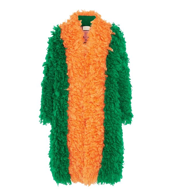 adwoa aboah style: Gucci Two-Tone Mohair-Blend Coat