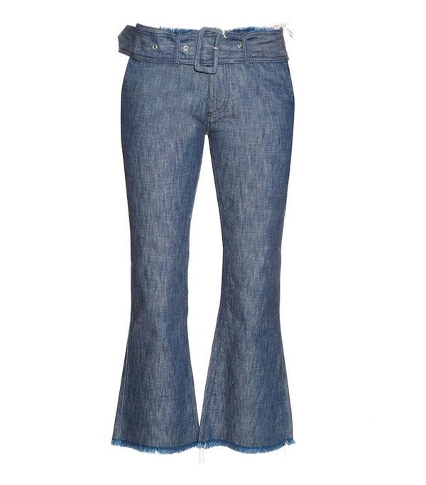 adwoa aboah style: Marques'Almeida Frayed-Edge Flared-Leg Crop Jeans