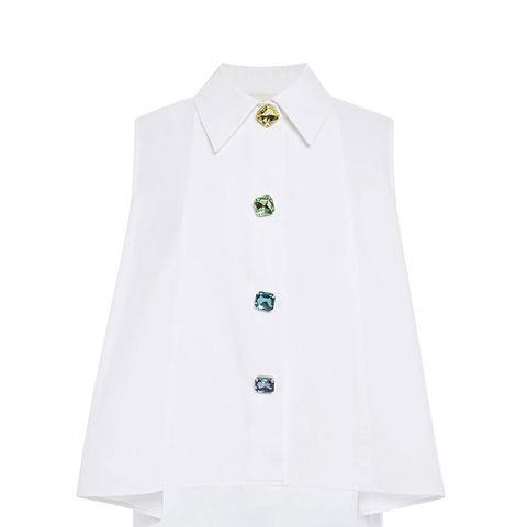 Cotton Sleeveless Shirt With Crystal Buttons