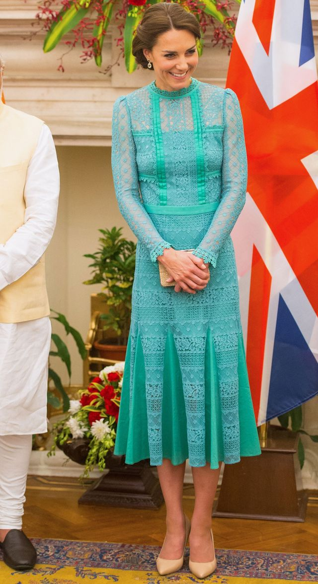 On Kate Middleton: Temperley London dress; L.K.Bennett Fern Court Shoes ($345) in Trench Leather.