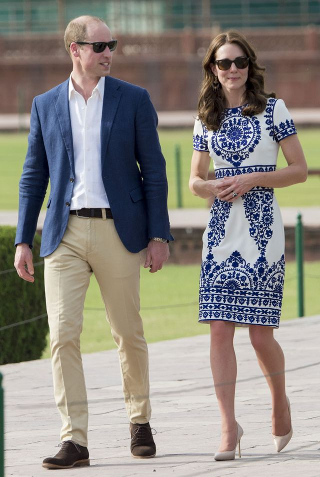 On Kate Middleton: Naeem Khan dress; L.K.Bennett Fern Court Shoes ($345) in Trench Leather.