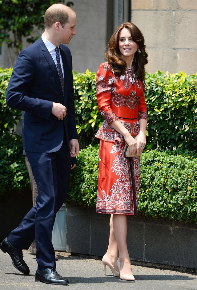 On Kate Middleton: Alexander McQueen top and skirt; L.K.Bennett Fern Court Shoes ($345) in Trench Leather.