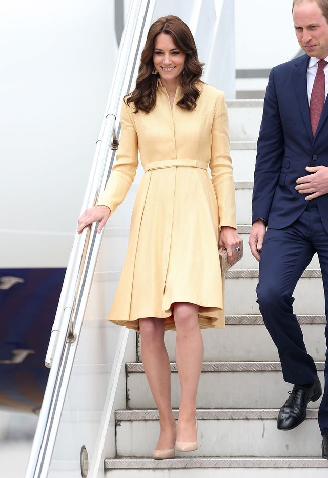 On Kate Middleton: Emilia Wickstead dress; L.K.Bennett Fern Court Shoes ($345) in Trench Leather.
