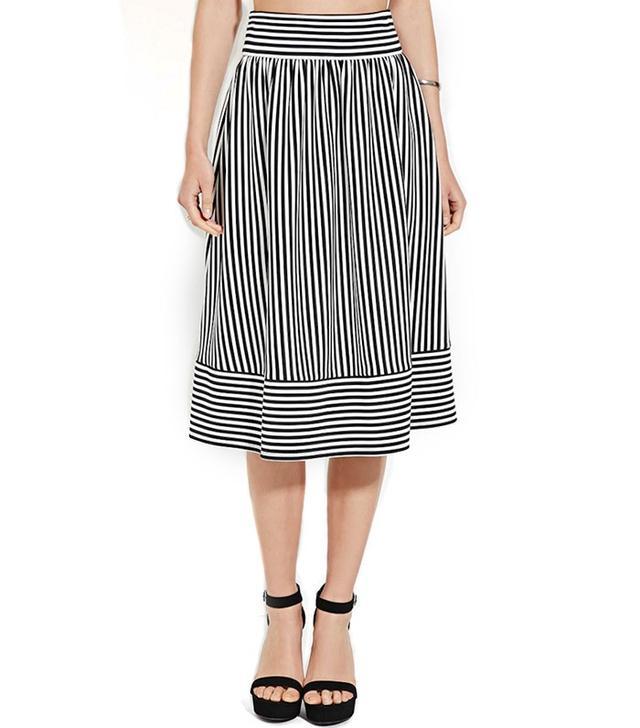 Forever 21 Stripe Pleated Skirt