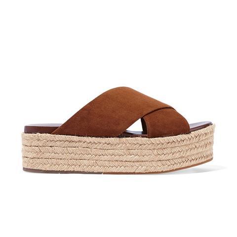 Suede Espadrille Platform Sandals