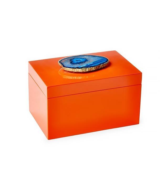Mapleton Drive Remote Orange Lacquer Box With Blue Agate