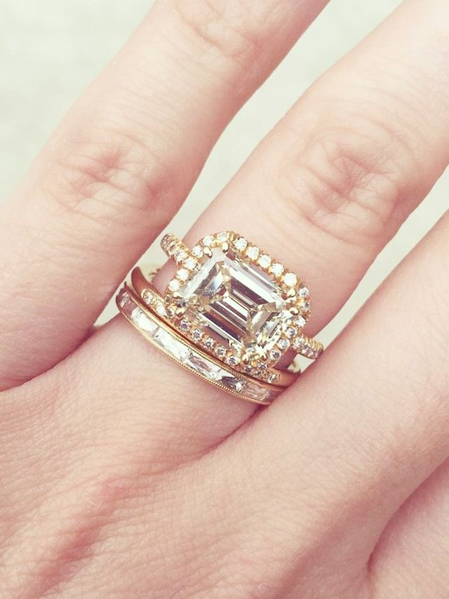 20 real girls with gorgeous wedding bandandengagement ring combos whowhatwear - Wedding Band Engagement Ring