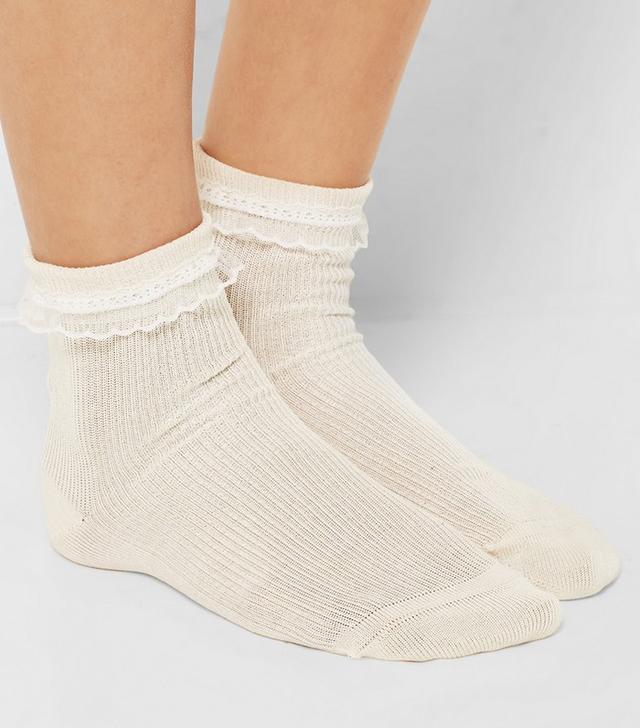 Saint Laurent Lace-Trimmed Cotton Socks