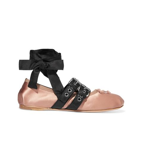 Buckled Leather and Satin Ballet Flats