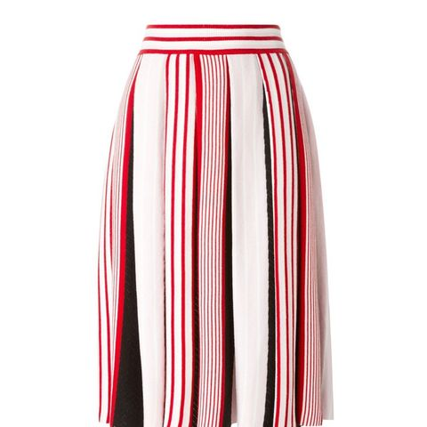 Striped Pleated Skirt