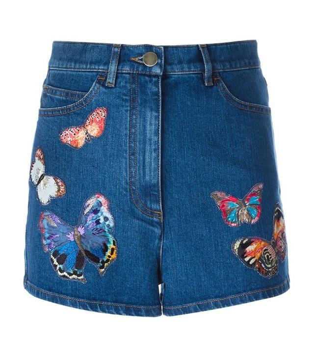 Valentino Camubutterfly Denim Shorts