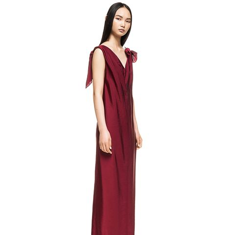 Burgundy Knotted Dress