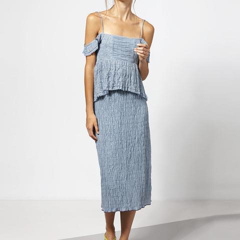 Frayed Stripes Midi Dress
