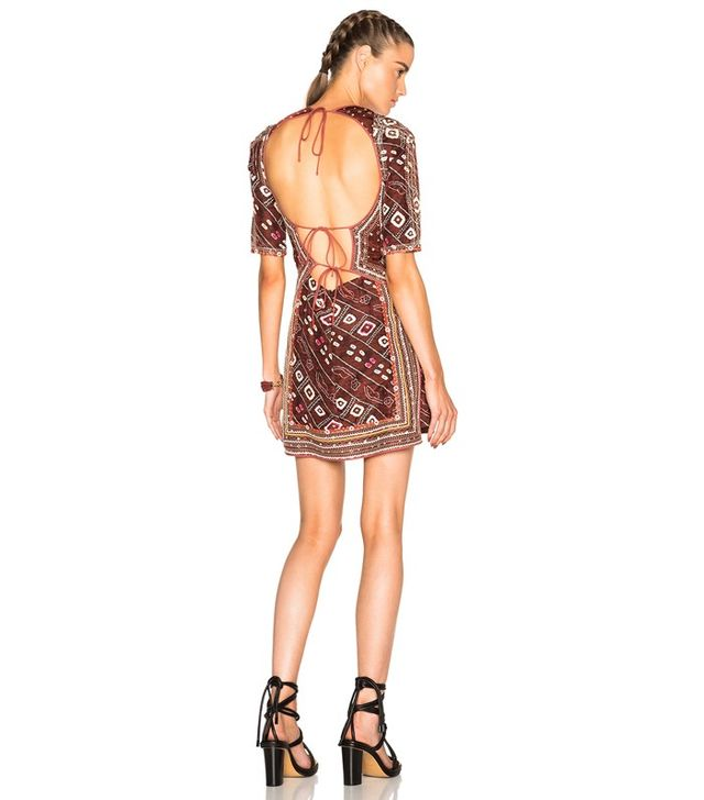 Isabel Marant Tacey Embroidered Printed Silk Dress
