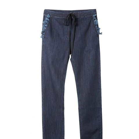 Navy Wash Denim Trousers