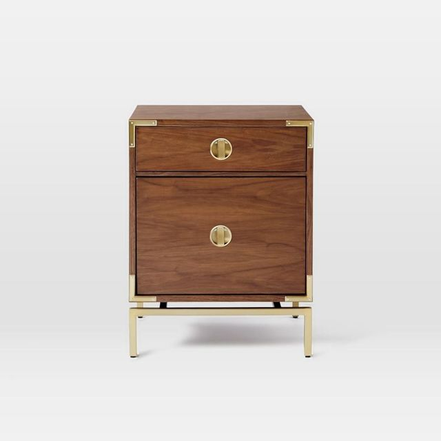 West Elm Malone Campaign Bedside Table - Walnut