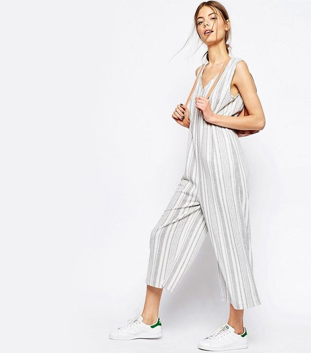 ASOS Jersey Jumpsuit With Wide Leg in Variegated Stripe