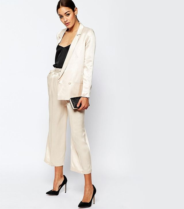 ASOS Premium Satin Double Breasted Suit Jacket and Trousers