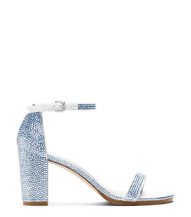 Stuart Weitzman Nearlynude Sandals with Light Sapphire Pavé Crystals