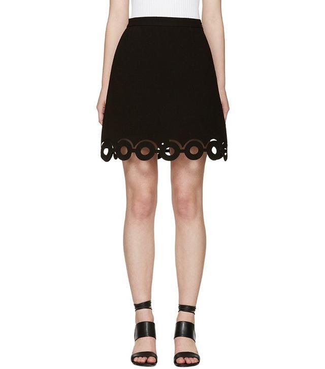 Carven Black Lasercut Circle Miniskirt
