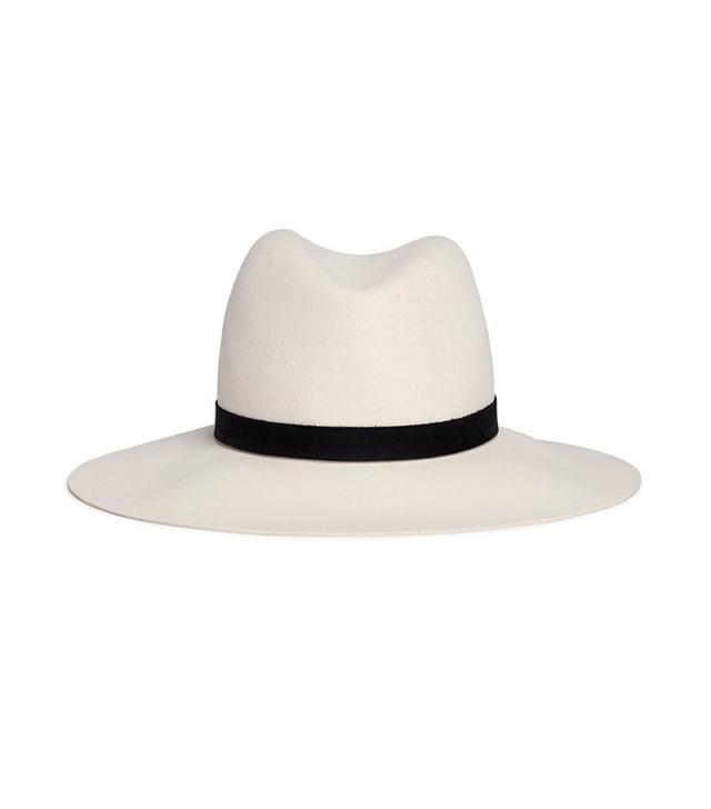Janessa Leone Camellia Leather Band Wool Felt Fedora Hat