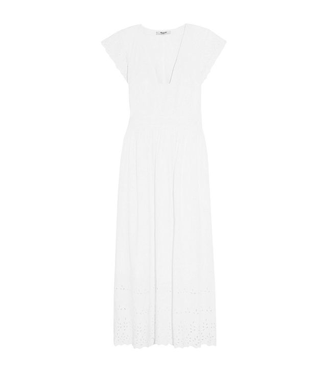 Madewell Dinah Broderie Anglaise-Trimmed Linen and Cotton-Blend Midi Dress