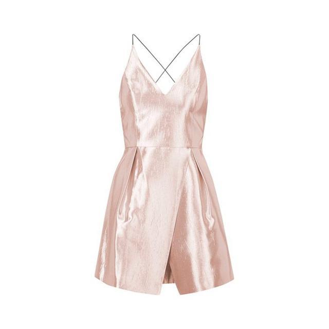 Topshop Crinkled Satin V-Neck Dress
