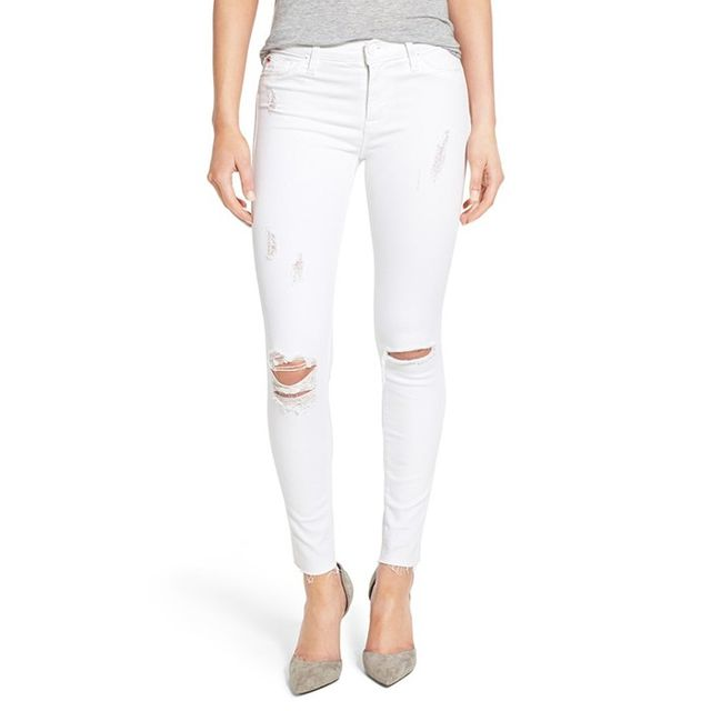 Hudson Jeans Nico Mid Rise Distressed Ankle Skinny Jeans