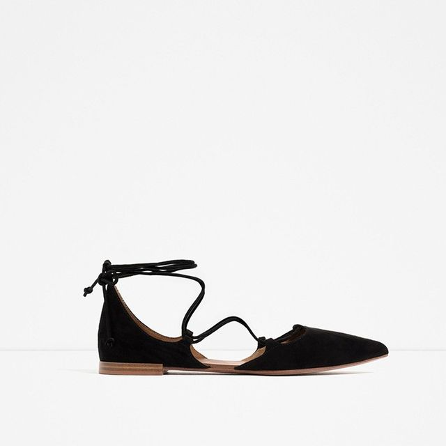 Zara Flat Lace-Up D'Orsay Shoes