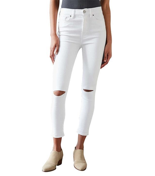 BDG Twig High-Rise Crop Skinny Jean in White Slash