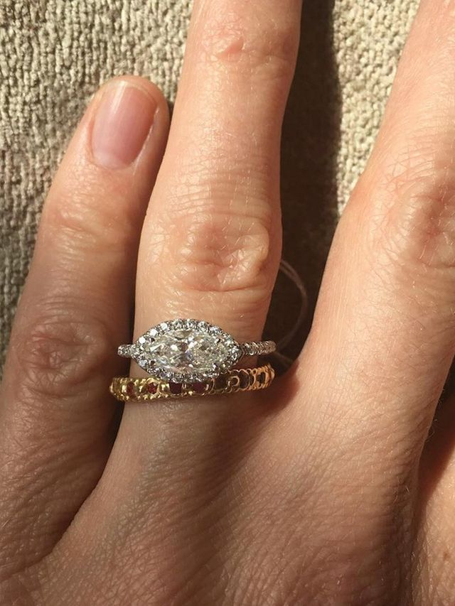 20 Real Girls With Gorgeous Wedding BandandEngagement Ring Combos