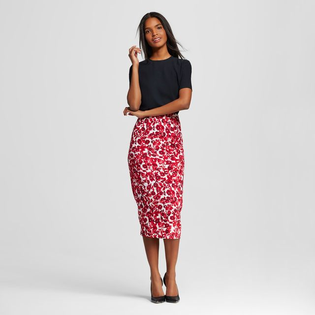 Who What Wear Pencil Skirt in Red