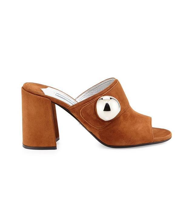 Prada Suede Chunky-Heel Slide Sandal