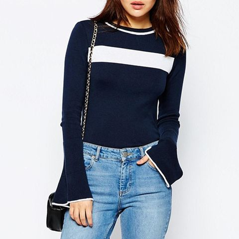 Jumper in Stripe With Flared Sleeve