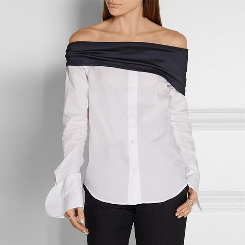Off-the-Shoulder Jersey-Paneled Cotton-Poplin Top