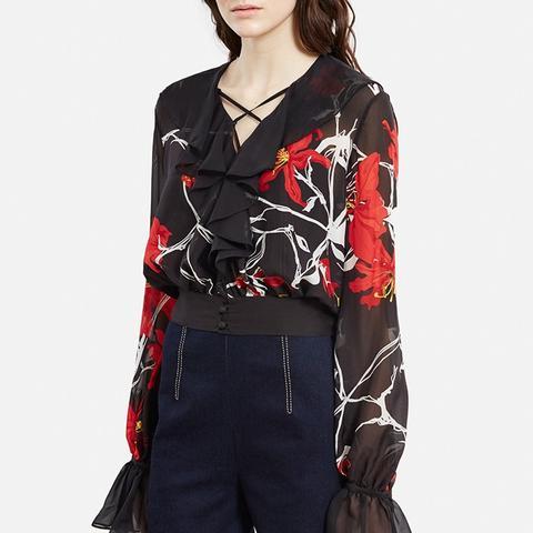 Floral Silk V-Neck Blouse