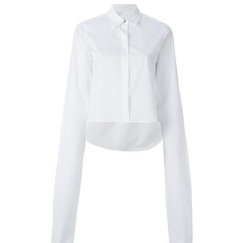 Oversized Sleeve Cropped Shirt