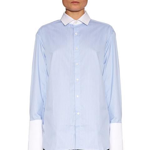 Oversized-Cuffs Pinstripe Cotton-Poplin Shirt