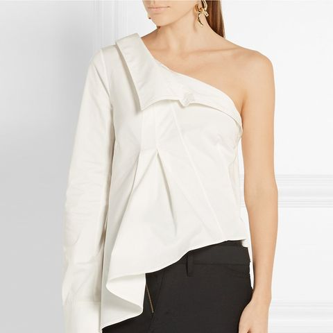 One-Shoulder Stretch-Cotton Twill Shirt