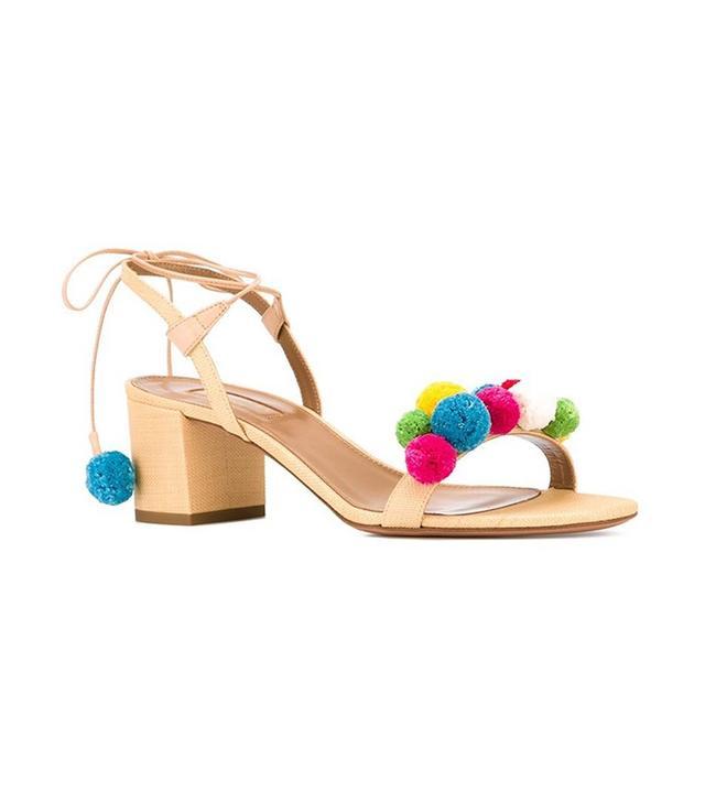 Aquazzura Pom-Pom Embellished Sandals