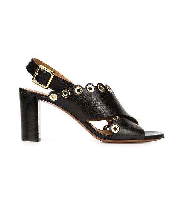 Chloé Eyelet Trim Cross-Strap Sandals