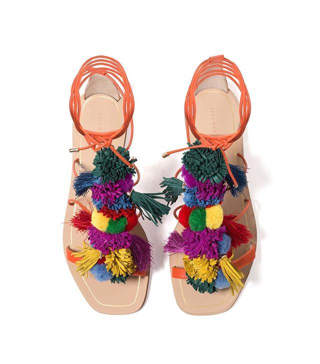 Zara Pompom Sandals
