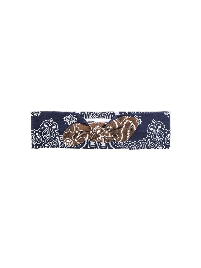 Maison Michel Gab Wooba Bandana Headband in Black & White