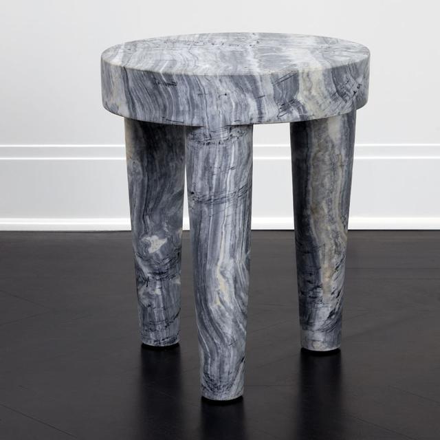 Kelly Wearstler Large Tribute Stool - Grey Marble